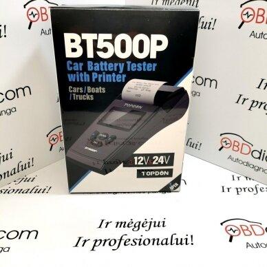 TOPDON BT500P Automobilių ir sunkvežimių akumuliatoriaus / generatoriaus testeris su spausdintuvu